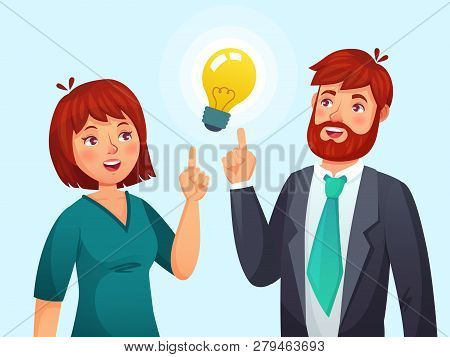 Couple Having Idea. Husband And Wife Have Solution, Adult Male And Female Solved Problem Or Ideas La