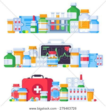 Medications. Medicine Pills, Pharmaceutical Medication Bottle And Antibiotic Pill. Pharmacy Drugs Is