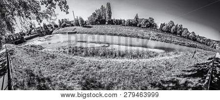 Nitra River With Hydroelectric Power Plant, Slovak Republic. Panoramic Photo. Travel Destination. Bl
