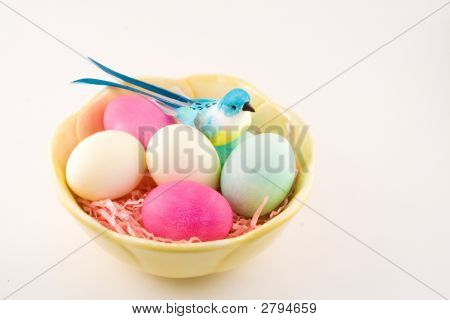 Easter Eggs And Blue Bird