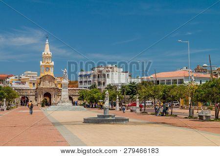 Cartagena De Indias, Colombia - Aug 28, 2015: Muelle De Los Pegasos And Clock Tower In Cartagena.