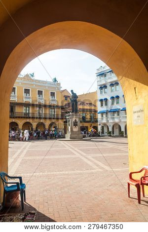 Cartagena De Indias, Colombia - Aug 28, 2015: View Of Plaza De Los Coches In Cartagena From The Gate