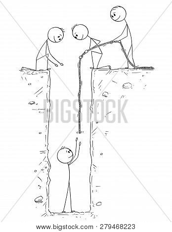Cartoon Stick Drawing Conceptual Illustration Of Man Or Businessman Who Fall And Is Trapped In Deep