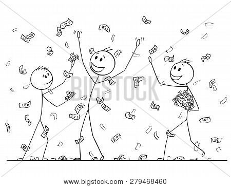 Cartoon Stick Drawing Conceptual Illustration Of Group Of Men Or Businessmen Celebrating And Collect