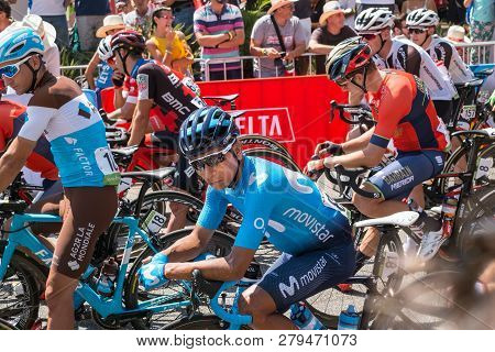 Marbella, Spain - August 26th, 2018. Nairo Quintana From Movistar Cycling Team Before The Start Of T