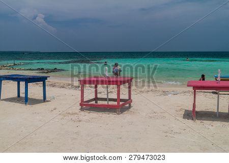 San Bernardo, Colombia - August 31, 2015: Beach On Mucura Island Of San Bernardo Archipelago, Colomb