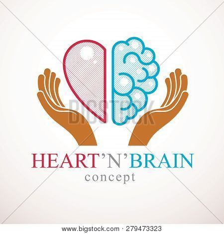 Heart And Brain Concept, Conflict Between Emotions And Rational Thinking, Teamwork And Balance Betwe