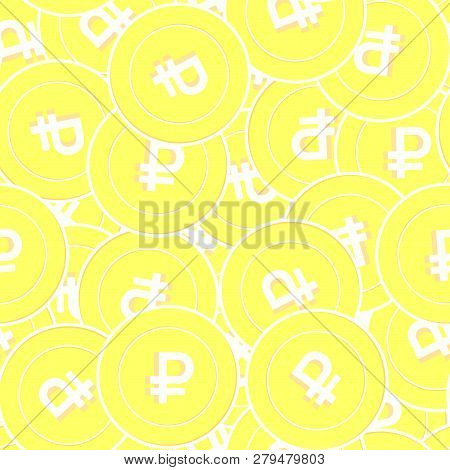 Russian Ruble Gold Coins Seamless Pattern. Charming Scattered Yellow Rub Coins. Success Concept. Rus