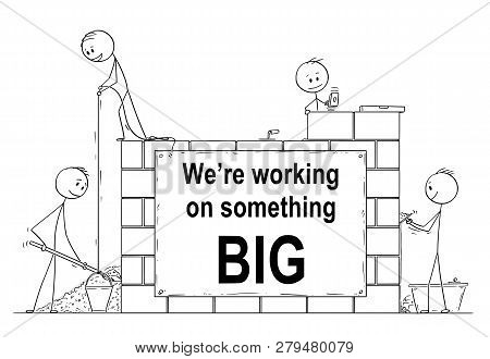 Cartoon Stick Drawing Conceptual Website Banner Illustration Of Group Of Masons Or Bricklayers Build