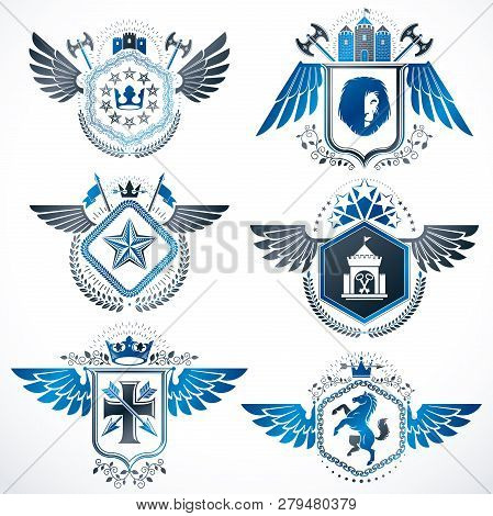 Heraldic Emblems With Wings Isolated On White Backdrop. Collection Of Vector Symbols In Vintage Styl