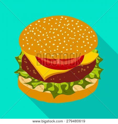 Vector Illustration Of Burger And Sandwich Sign. Collection Of Burger And Slice Vector Icon For Stoc