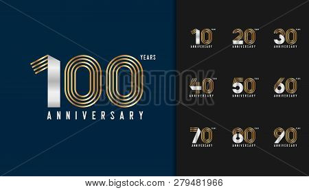 Set Of Anniversary Logotype. Golden And Silver Anniversary Celebration Emblem Design For Company Pro