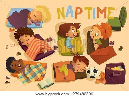 Kindergarten Nap Time Kid Vector Illustration. Preschool Multiracial Children Sleep On Bed, Girl Fri