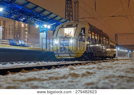 Kyiv, Ukraine - December 14, 2018: The Rail Bus Pesa 620m Travel From Kyiv To Boryspil Airport. At T