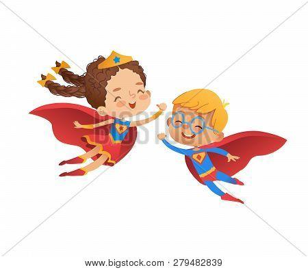 Superhero Children Friend Costume Character. Happy Boy And Caucasian Girl Wear Hero Costume For Kind