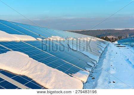 Solar Panels As A Small Part Of A Solar Power Plant