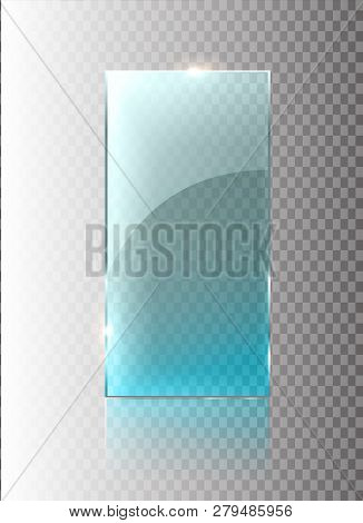 Glass Transparent Banner. Vector Glass Plates With A Place For Inscriptions Isolated On Transparent