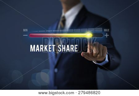 Market Growth, Increase Market Share Or Business Growth Concept. Businessman Is Pulling Up Progress