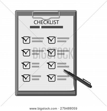 Vector Illustration Of Form And Document Icon. Collection Of Form And Mark Stock Vector Illustration