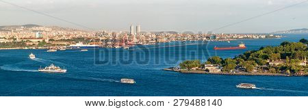 Bosphorus In Istanbul, Turkey. Aerial Panoramic View Of The City Divided By The Bosphorus. Horizonta