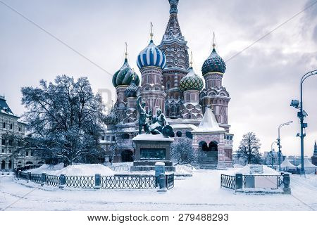 St Basil's Cathedral In Cold Winter, Moscow, Russia