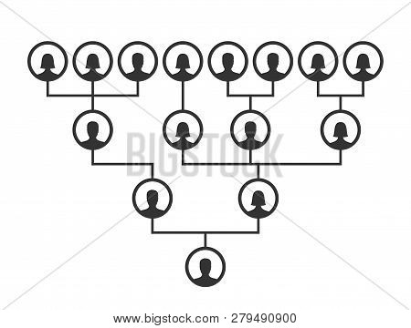 Family Tree, Pedigree Or Ancestry Chart Template. Family Genealogical Tree Icons Infographic Avatars