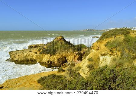Auramar Beach Coastal Erosion On The Algarve Coast Of Portugal