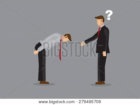 Cartoon Businessman Extend Arm For Handshake But Was Greeted By A Full Bow. Vector Illustration On C