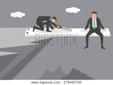 Cartoon man sitting at end of springboard at high mountain cliff watching helplessly at rival sawing the springboard. Creative vector illustration on concept for business in a risky position. poster