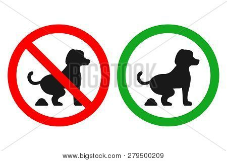No Dog Fouling Sign. Pooping Allowed Sign. Vector.