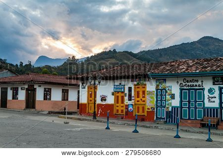 Salento, Colombia - September 9, 2015: Colorful Decorated Houses In Salento Village Colombia