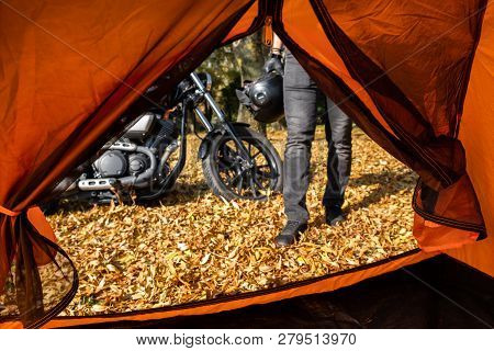 View From Camp Tent Door On Alone Travel Motorcycle Bike