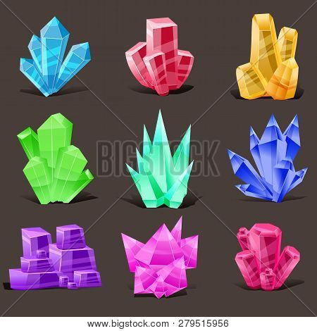 Crystal Set. Different Shapes And Colors. Crystal Stone Or Precious Stone. Precious Stone Magic, Fan