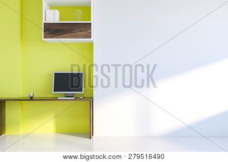 Yellow And White Home Office Interior