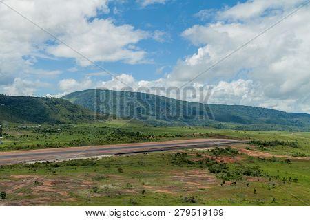 Aerial View Of An Airstrip In Canaima Village, Venezuela
