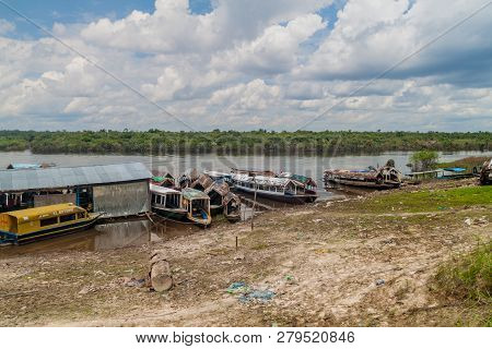 Padre Cocha, Peru - June 19, 2015: View Of River Port In Village Padre Cocha Near Iquitos, Peru