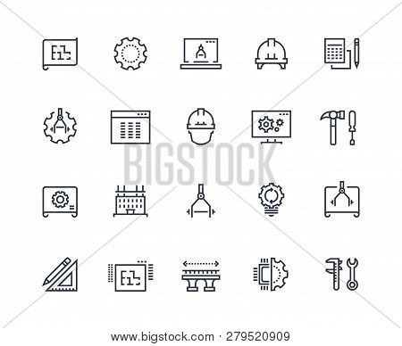 Engineering Line Icons. Work Project, Mechanical And Electrical Engineering. Measuring, Development