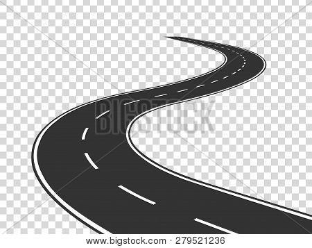 Winding Road. Journey Traffic Curved Highway. Road To Horizon In Perspective. Winding Asphalt Empty