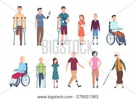 Disabled Persons. Diverse Injured People In Wheelchair, Elderly, Adult And Children Patients. Handic
