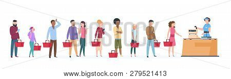 People Queue. Man And Woman Standing Waiting In Long Line Row. Crowded Queue In Grocery Store Vector