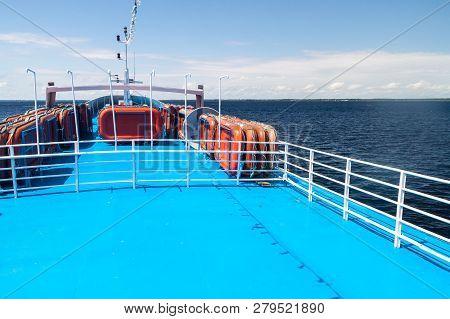 Amazon, Brazil - June 27, 2015: Upper Deck Of The Boat Anna Karoline Ii Which Plies River Amazon Bet
