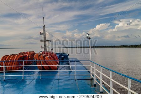 Amazon, Brazil - June 30, 2015: Upper Deck Of A  Passenger River Boat On Amazon River.