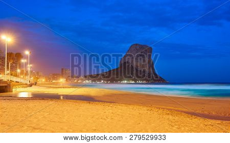 Arenal Bol beach in Calpe sunset also Calp in Alicante of spain at Costa Blanca Arenal-Bol