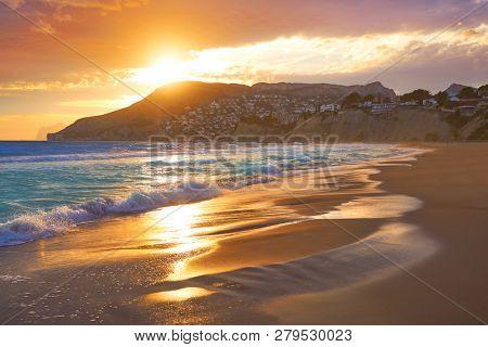 Arenal Bol beach in Calpe also Calp in Alicante of spain at Costa Blanca Arenal-Bol