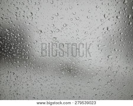 Water Drops On  A Car Window Glass