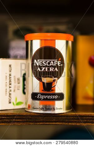 Poznan, Poland - November 17, 2018: Nescafe Azera Espresso Instant Coffee In A Container On A Cupboa