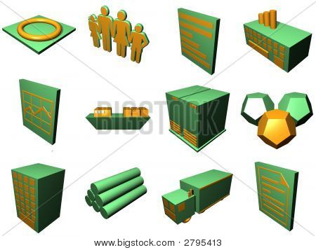 Logistics Process Icons For Supply Chain Diagram In Orange Green