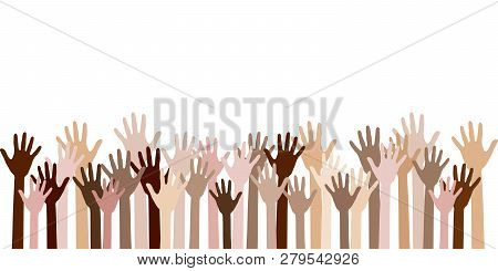 Diversity Of Human Hands Raised. Team Building Concept. Raised Up Hands Of Different Skin Color Vect