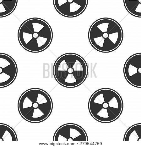 Radioactive Icon Seamless Pattern On White Background. Radioactive Toxic Symbol. Radiation Hazard Si