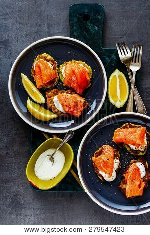 Zucchini Fritters With Salmon